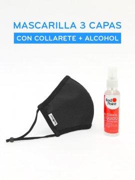 MASCARILLA 3 CAPAS PARA ADULTO CON COLLARETE MAS ALCOHOL
